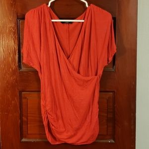 Johnny top bold red wrap front with ruched detail